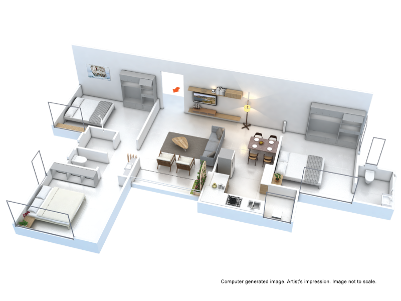 3 BHK floor plan